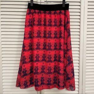 LuLaRoe Lola Aztec Pink/Blue Skirt